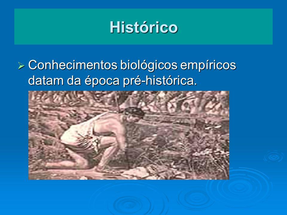 Histórico Conhecimentos biológicos empíricos datam da época pré-histórica. Conhecimentos biológicos empíricos datam da época pré-histórica.