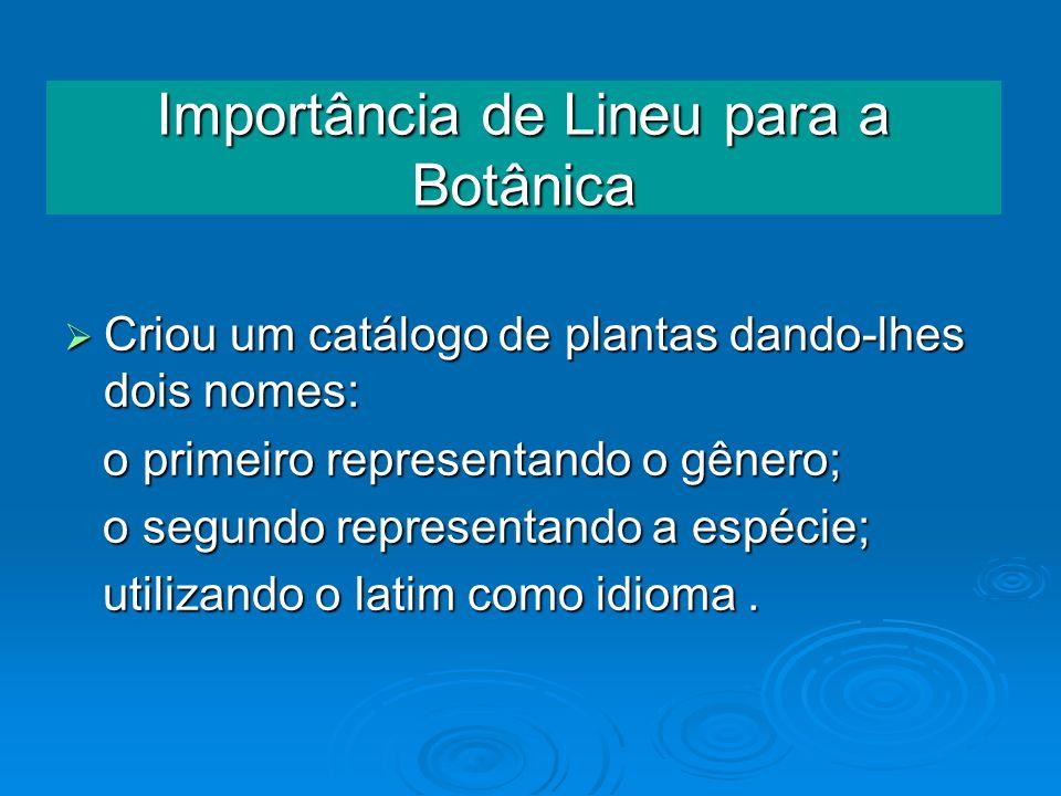 Importância de Lineu para a Botânica Criou um catálogo de plantas dando-lhes dois nomes: Criou um catálogo de plantas dando-lhes dois nomes: o primeir