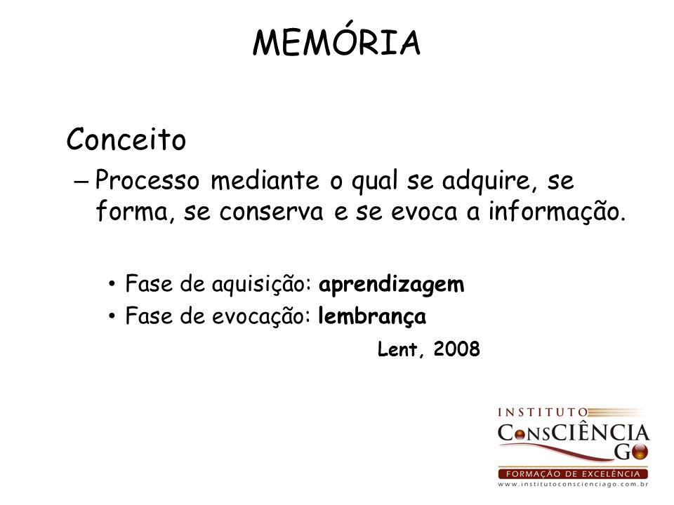 MEMÓRIA Conceito – Processo mediante o qual se adquire, se forma, se conserva e se evoca a informação. Fase de aquisição: aprendizagem Fase de evocaçã