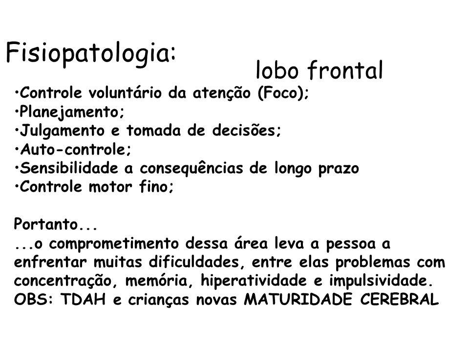 Fisiopatologia: lobo frontal Controle voluntário da atenção (Foco); Planejamento; Julgamento e tomada de decisões; Auto-controle; Sensibilidade a cons