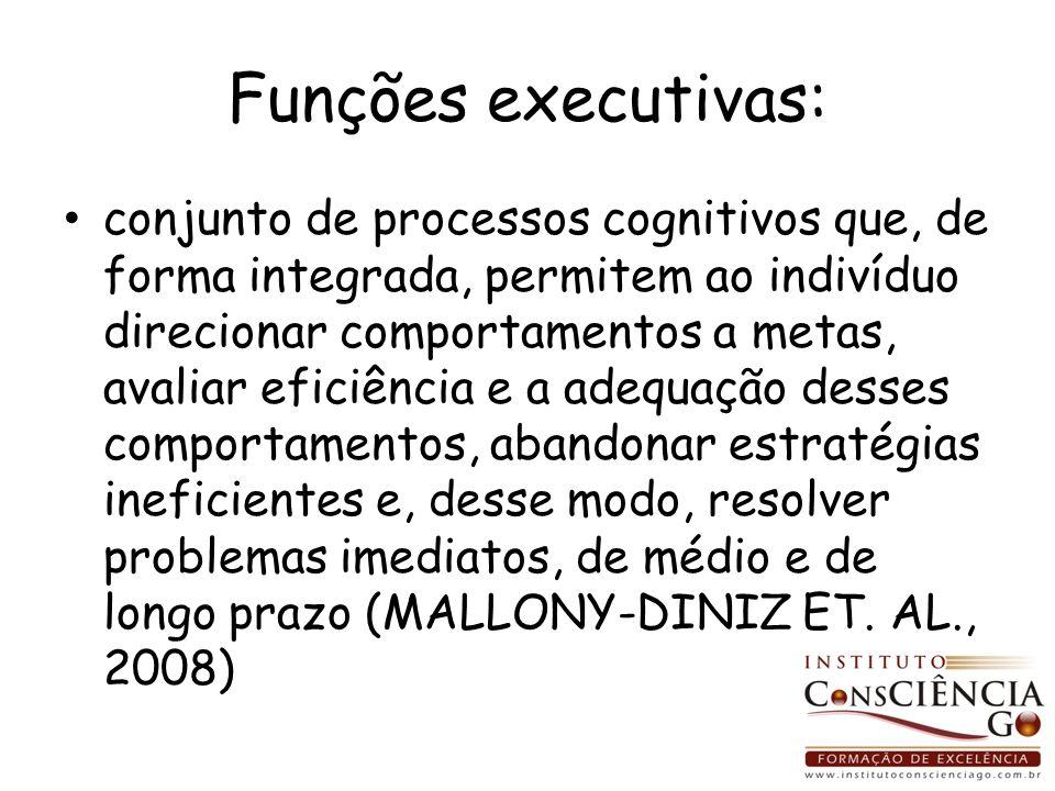 Funções executivas: conjunto de processos cognitivos que, de forma integrada, permitem ao indivíduo direcionar comportamentos a metas, avaliar eficiên