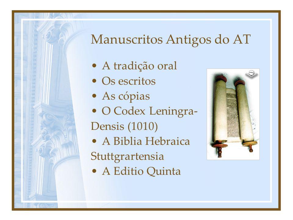 Manuscritos Antigos do AT A tradição oral Os escritos As cópias O Codex Leningra- Densis (1010) A Biblia Hebraica Stuttgrartensia A Editio Quinta