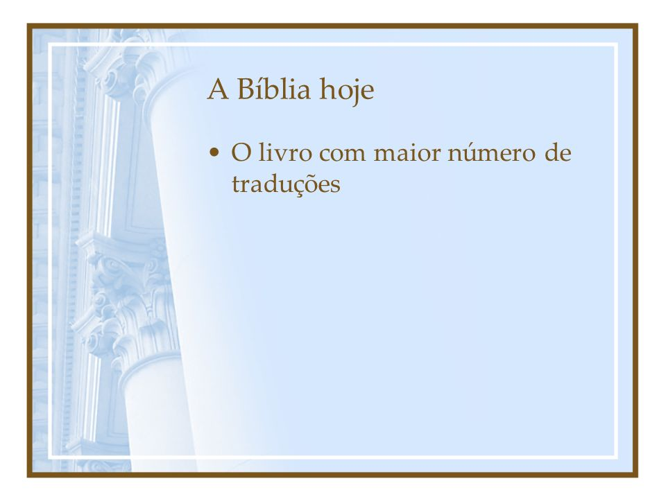 Sumário Estatístico de Traduções - 2009 RegiãoPorçõesN.T.BíbliasTotal África223335173731 Ásia / Pacífico3545161821.052 Europa /Or.