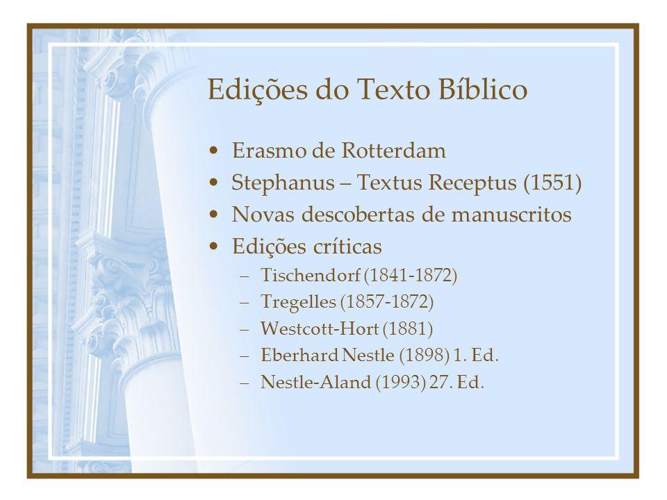 Edições do Texto Bíblico Erasmo de Rotterdam Stephanus – Textus Receptus (1551) Novas descobertas de manuscritos Edições críticas –Tischendorf (1841-1