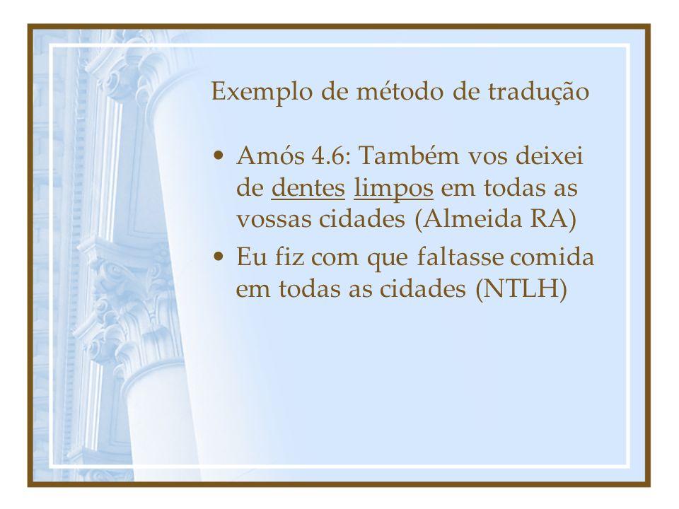 Exemplo de método de tradução Amós 4.6: Também vos deixei de dentes limpos em todas as vossas cidades (Almeida RA) Eu fiz com que faltasse comida em t