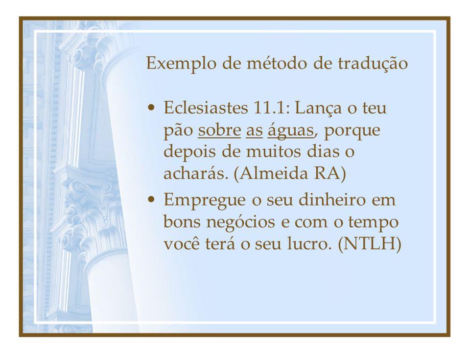 Exemplo de método de tradução Eclesiastes 11.1: Lança o teu pão sobre as águas, porque depois de muitos dias o acharás. (Almeida RA) Empregue o seu di