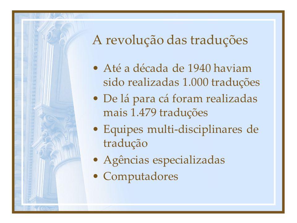 A revolução das traduções Até a década de 1940 haviam sido realizadas 1.000 traduções De lá para cá foram realizadas mais 1.479 traduções Equipes mult