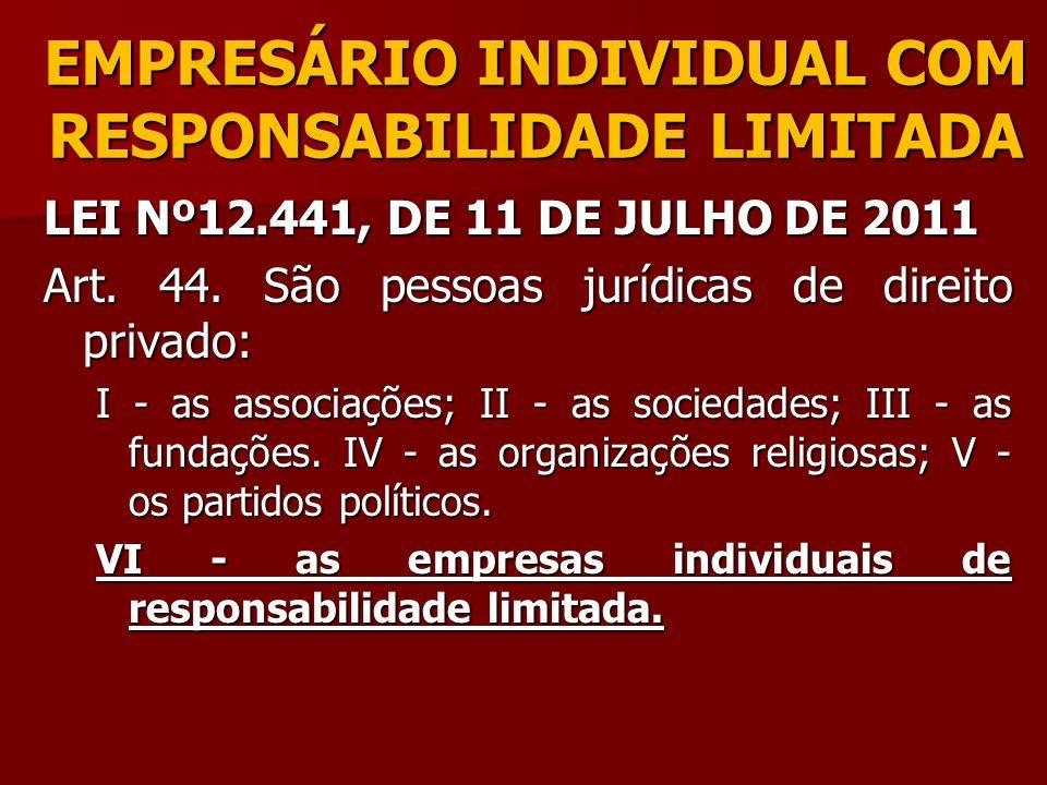 EMPRESÁRIO INDIVIDUAL COM RESPONSABILIDADE LIMITADA LEI Nº12.441, DE 11 DE JULHO DE 2011 Art. 44. São pessoas jurídicas de direito privado: I - as ass