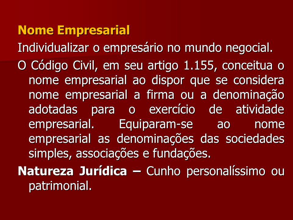 Nome Empresarial Individualizar o empresário no mundo negocial. O Código Civil, em seu artigo 1.155, conceitua o nome empresarial ao dispor que se con
