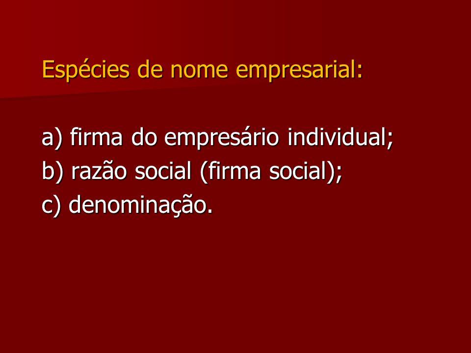 Espécies de nome empresarial: a) firma do empresário individual; b) razão social (firma social); c) denominação.