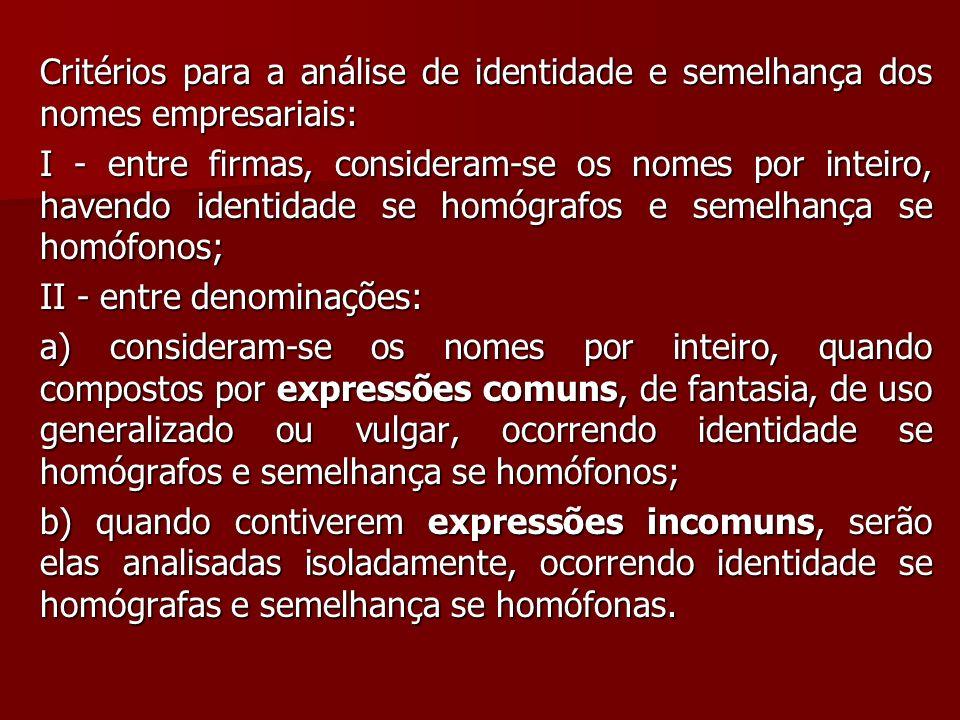 Critérios para a análise de identidade e semelhança dos nomes empresariais: I - entre firmas, consideram-se os nomes por inteiro, havendo identidade s