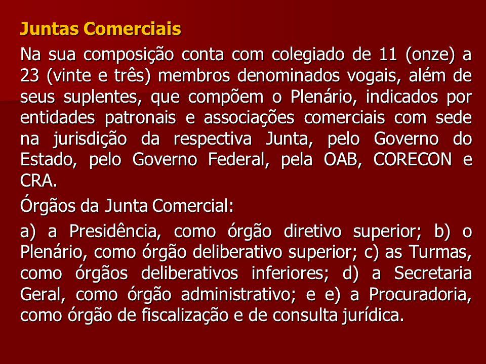 Juntas Comerciais Na sua composição conta com colegiado de 11 (onze) a 23 (vinte e três) membros denominados vogais, além de seus suplentes, que compõ