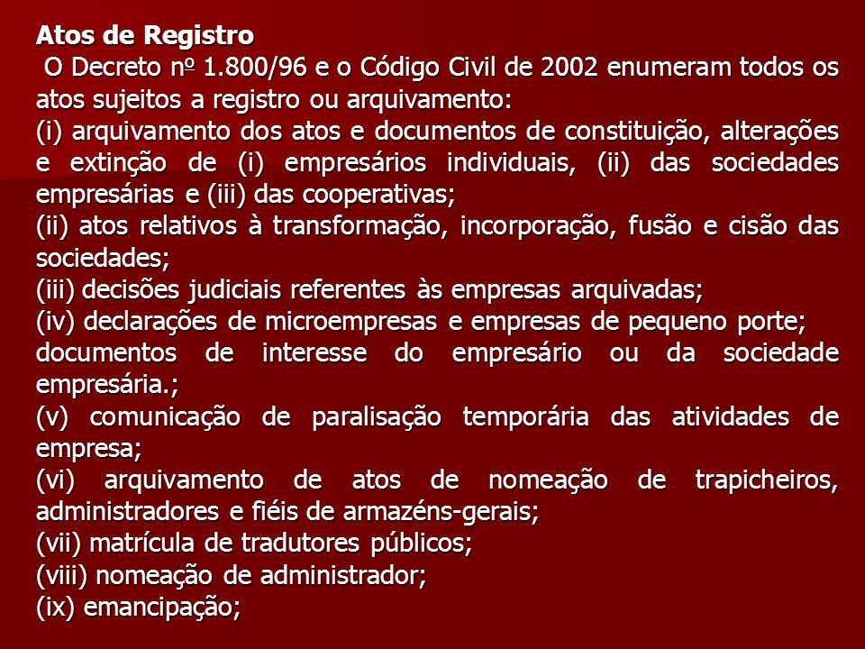 Atos de Registro O Decreto n o 1.800/96 e o Código Civil de 2002 enumeram todos os atos sujeitos a registro ou arquivamento: O Decreto n o 1.800/96 e