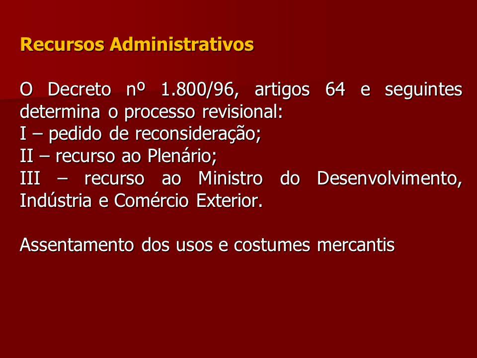 Recursos Administrativos O Decreto nº 1.800/96, artigos 64 e seguintes determina o processo revisional: I – pedido de reconsideração; II – recurso ao