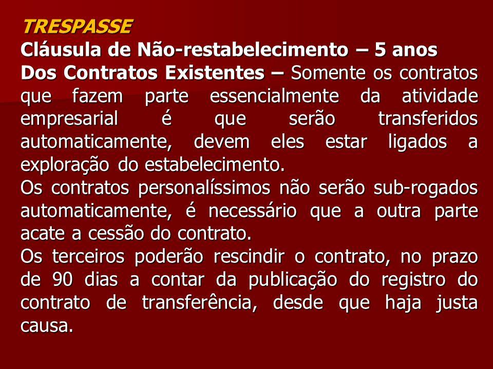 TRESPASSE Cláusula de Não-restabelecimento – 5 anos Dos Contratos Existentes – Somente os contratos que fazem parte essencialmente da atividade empres