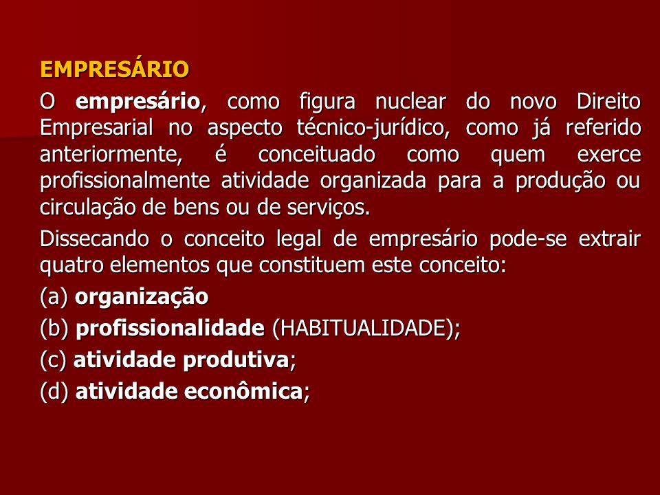 EMPRESÁRIO O empresário, como figura nuclear do novo Direito Empresarial no aspecto técnico-jurídico, como já referido anteriormente, é conceituado co