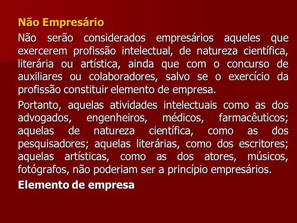 Não Empresário Não serão considerados empresários aqueles que exercerem profissão intelectual, de natureza científica, literária ou artística, ainda q