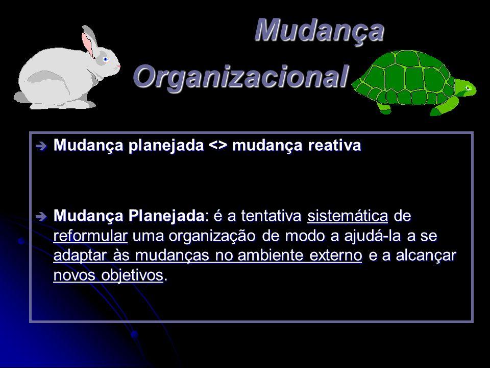 Mudança Organizacional è Mudança planejada <> mudança reativa è Mudança Planejada: é a tentativa sistemática de reformular uma organização de modo a a