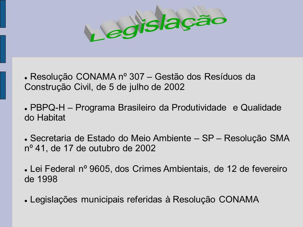 Resolução CONAMA nº 307 – Gestão dos Resíduos da Construção Civil, de 5 de julho de 2002 PBPQ-H – Programa Brasileiro da Produtividade e Qualidade do