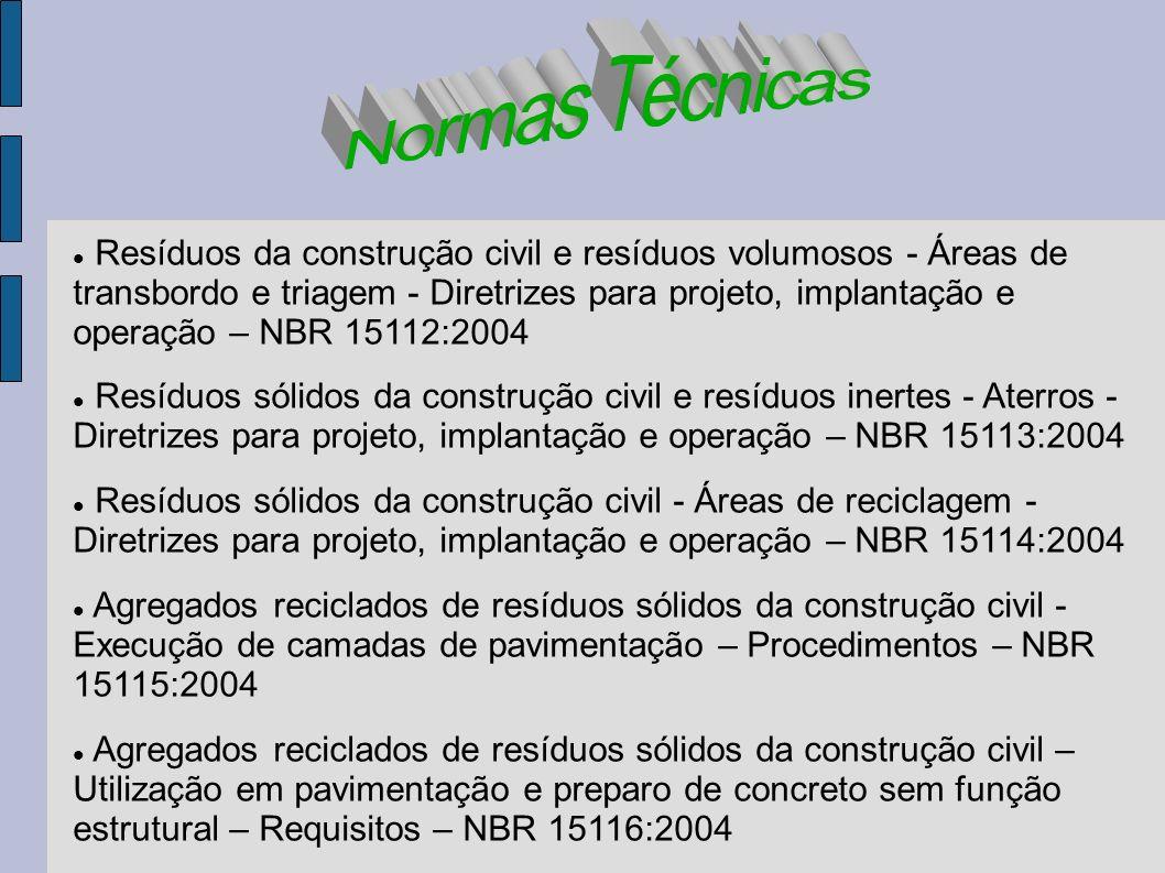 Resíduos da construção civil e resíduos volumosos - Áreas de transbordo e triagem - Diretrizes para projeto, implantação e operação – NBR 15112:2004 R