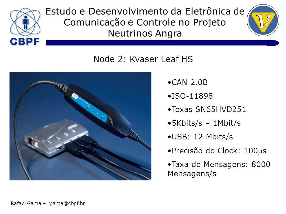 Estudo e Desenvolvimento da Eletrônica de Comunicação e Controle no Projeto Neutrinos Angra Rafael Gama – rgama@cbpf.br Node 2: Kvaser Leaf HS CAN 2.0