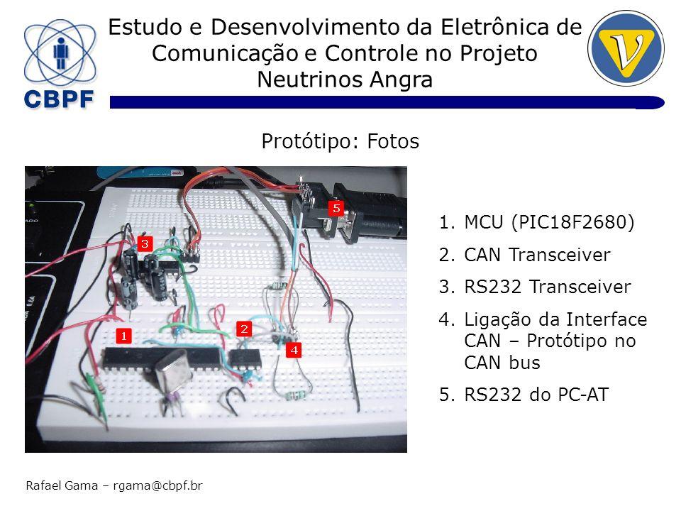 Estudo e Desenvolvimento da Eletrônica de Comunicação e Controle no Projeto Neutrinos Angra Rafael Gama – rgama@cbpf.br Protótipo: Fotos 1.CAN Interface – Protótipo 2.Kvaser Leaf HS – USB<>CAN Interface 3.PC-AT 1.Cabo: 50 metros 2.Ligação da Interface USB<>CAN no CAN bus 1.MCU (PIC18F2680) 2.CAN Transceiver 3.RS232 Transceiver 4.Ligação da Interface CAN – Protótipo no CAN bus 5.RS232 do PC-AT