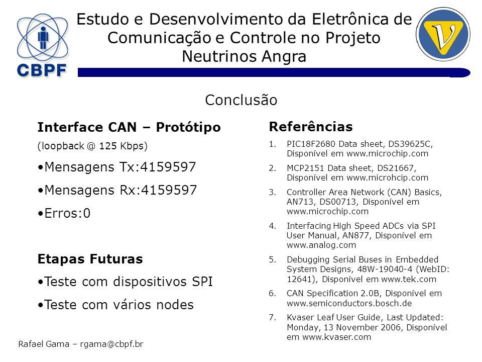 Estudo e Desenvolvimento da Eletrônica de Comunicação e Controle no Projeto Neutrinos Angra Rafael Gama – rgama@cbpf.br Conclusão Interface CAN – Prot