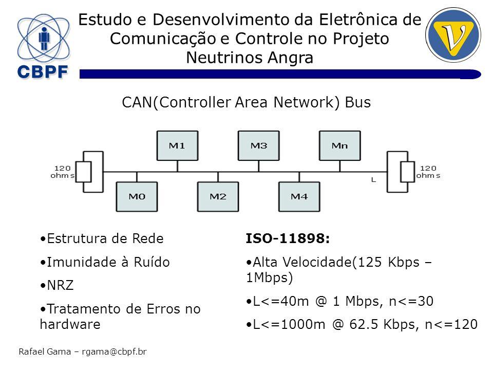 Estudo e Desenvolvimento da Eletrônica de Comunicação e Controle no Projeto Neutrinos Angra Rafael Gama – rgama@cbpf.br CAN(Controller Area Network) Bus Estrutura de Rede Imunidade à Ruído NRZ Tratamento de Erros no hardware ISO-11898: Alta Velocidade(125 Kbps – 1Mbps) L<=40m @ 1 Mbps, n<=30 L<=1000m @ 62.5 Kbps, n<=120