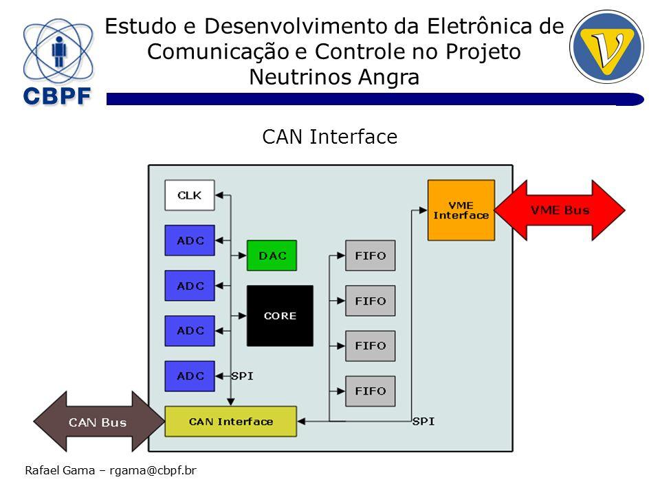 Estudo e Desenvolvimento da Eletrônica de Comunicação e Controle no Projeto Neutrinos Angra Rafael Gama – rgama@cbpf.br CAN Interface 1) Transceiver ISO-88198 Disponibilidade Solução Microchip 2) MCU CAN 2.0B Disponibilidade PIC18 – 8 bits Custo