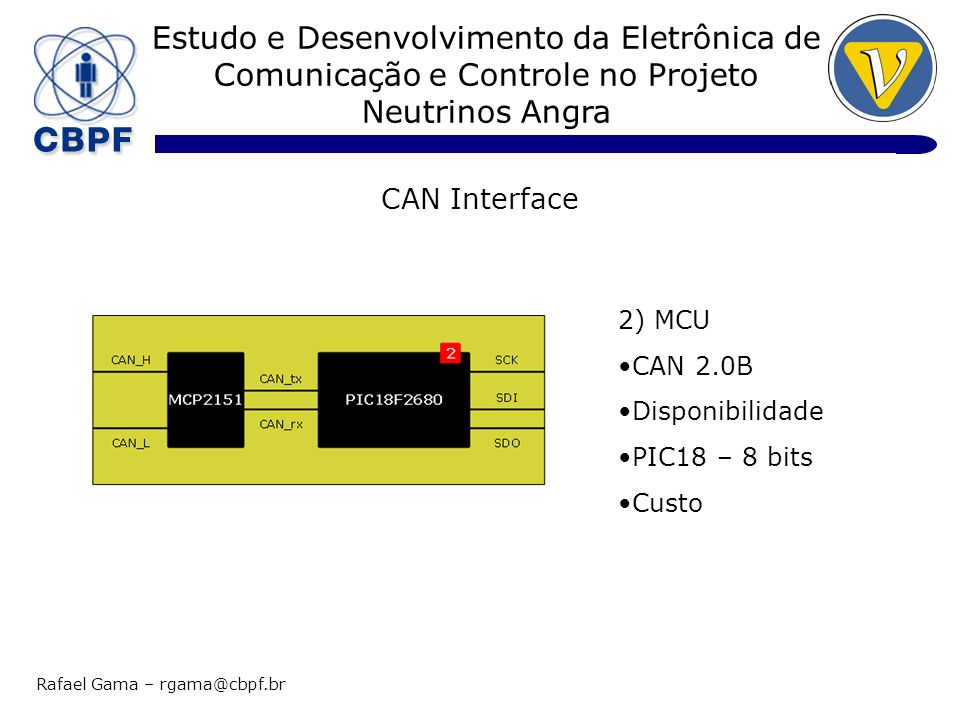 Estudo e Desenvolvimento da Eletrônica de Comunicação e Controle no Projeto Neutrinos Angra Rafael Gama – rgama@cbpf.br Conclusão Interface CAN – Protótipo (loopback @ 125 Kbps) Mensagens Tx:4159597 Mensagens Rx:4159597 Erros:0 Etapas Futuras Teste com dispositivos SPI Teste com vários nodes Referências 1.PIC18F2680 Data sheet, DS39625C, Disponível em www.microchip.com 2.MCP2151 Data sheet, DS21667, Disponível em www.microhcip.com 3.Controller Area Network (CAN) Basics, AN713, DS00713, Disponível em www.microchip.com 4.Interfacing High Speed ADCs via SPI User Manual, AN877, Disponível em www.analog.com 5.Debugging Serial Buses in Embedded System Designs, 48W-19040-4 (WebID: 12641), Disponível em www.tek.com 6.CAN Specification 2.0B, Disponível em www.semiconductors.bosch.de 7.Kvaser Leaf User Guide, Last Updated: Monday, 13 November 2006, Disponível em www.kvaser.com