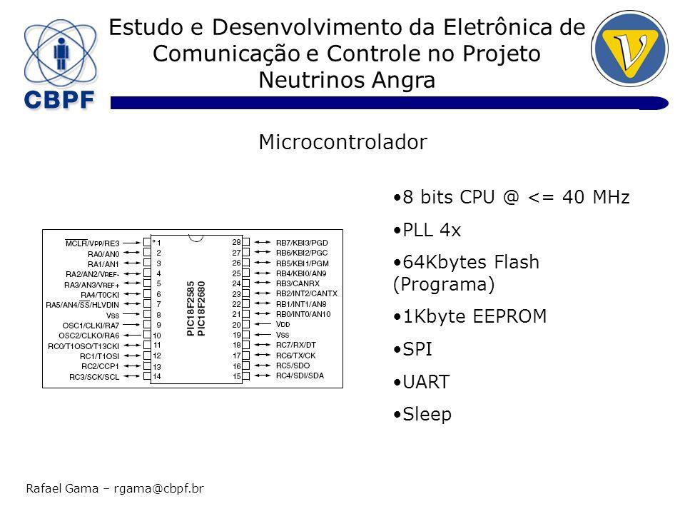 Estudo e Desenvolvimento da Eletrônica de Comunicação e Controle no Projeto Neutrinos Angra Rafael Gama – rgama@cbpf.br Microcontrolador 8 bits CPU @ <= 40 MHz PLL 4x 64Kbytes Flash (Programa) 1Kbyte EEPROM SPI UART Sleep