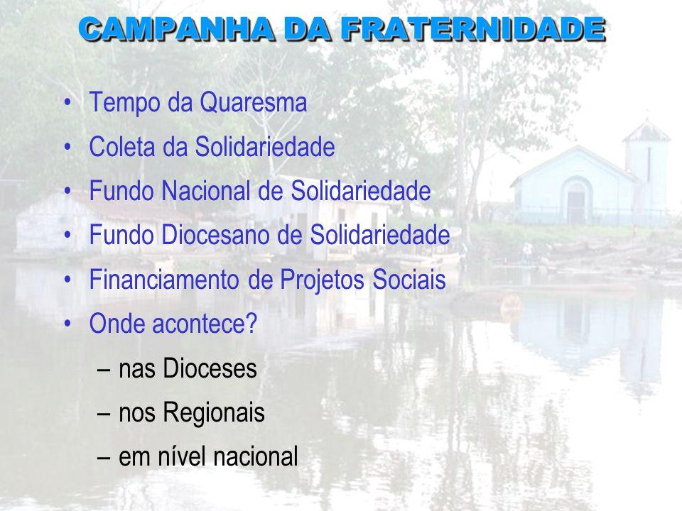 CAMPANHA DA FRATERNIDADE CAMPANHA DA FRATERNIDADE Tempo da Quaresma Coleta da Solidariedade Fundo Nacional de Solidariedade Fundo Diocesano de Solidar