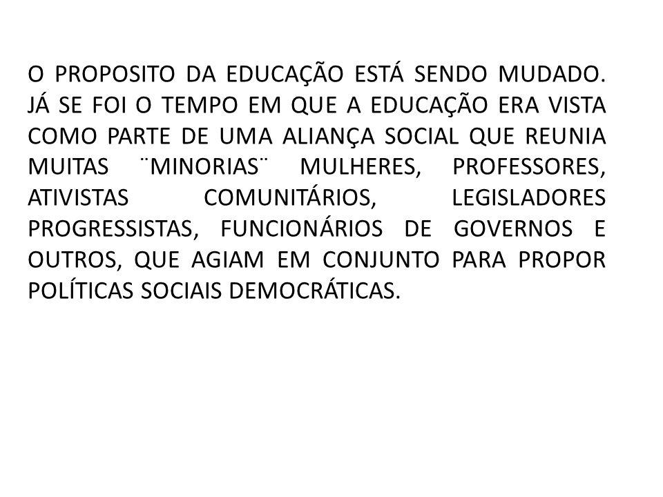 O PROPOSITO DA EDUCAÇÃO ESTÁ SENDO MUDADO.