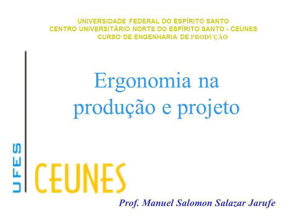 Ergonomia na produção e projeto UNIVERSIDADE FEDERAL DO ESPÍRITO SANTO CENTRO UNIVERSITÁRIO NORTE DO ESPÍRITO SANTO - CEUNES CURSO DE ENGENHARIA DE PR