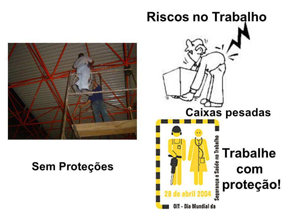 Riscos no Trabalho Caixas pesadas Sem Proteções Trabalhe com proteção!