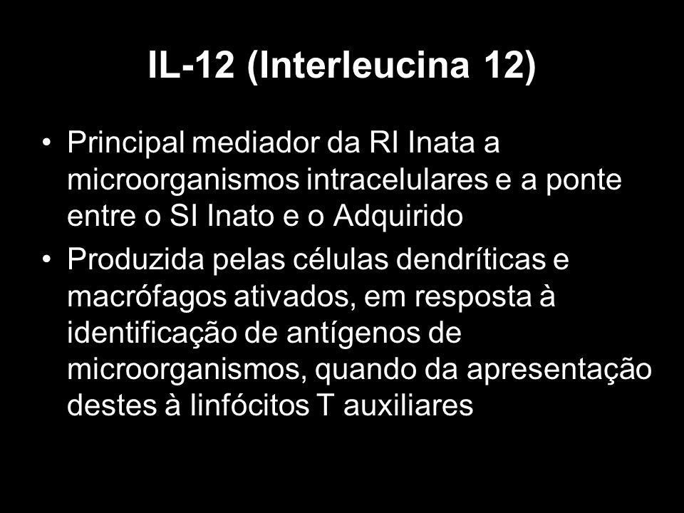 IL-12 (Interleucina 12) Principal mediador da RI Inata a microorganismos intracelulares e a ponte entre o SI Inato e o Adquirido Produzida pelas célul