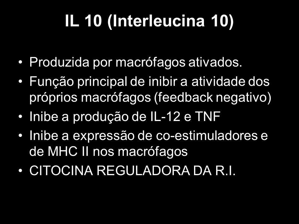IL 10 (Interleucina 10) Produzida por macrófagos ativados. Função principal de inibir a atividade dos próprios macrófagos (feedback negativo) Inibe a