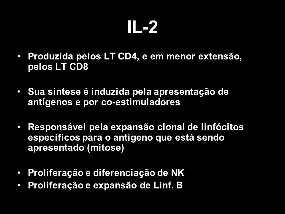 IL-2 Produzida pelos LT CD4, e em menor extensão, pelos LT CD8 Sua síntese é induzida pela apresentação de antígenos e por co-estimuladores Responsáve