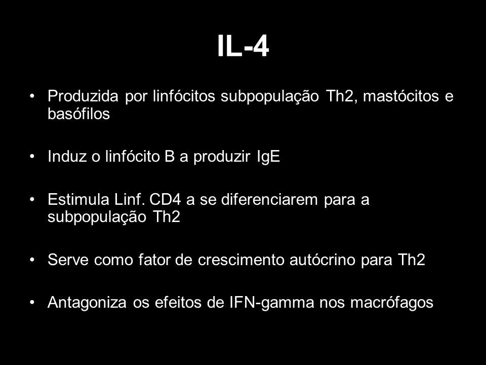 IL-4 Produzida por linfócitos subpopulação Th2, mastócitos e basófilos Induz o linfócito B a produzir IgE Estimula Linf. CD4 a se diferenciarem para a