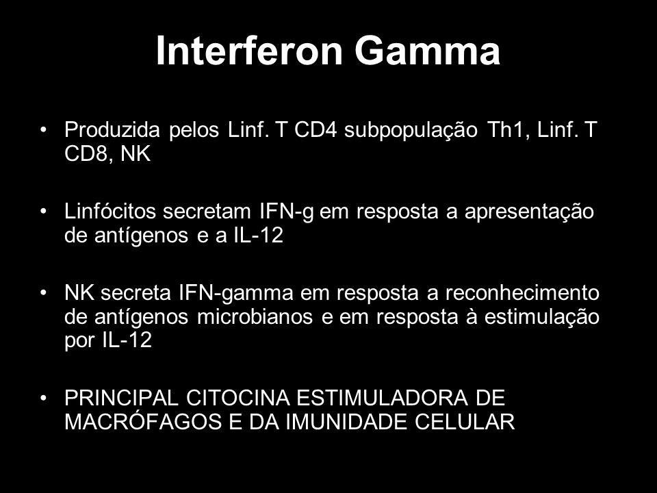 Interferon Gamma Produzida pelos Linf. T CD4 subpopulação Th1, Linf. T CD8, NK Linfócitos secretam IFN-g em resposta a apresentação de antígenos e a I