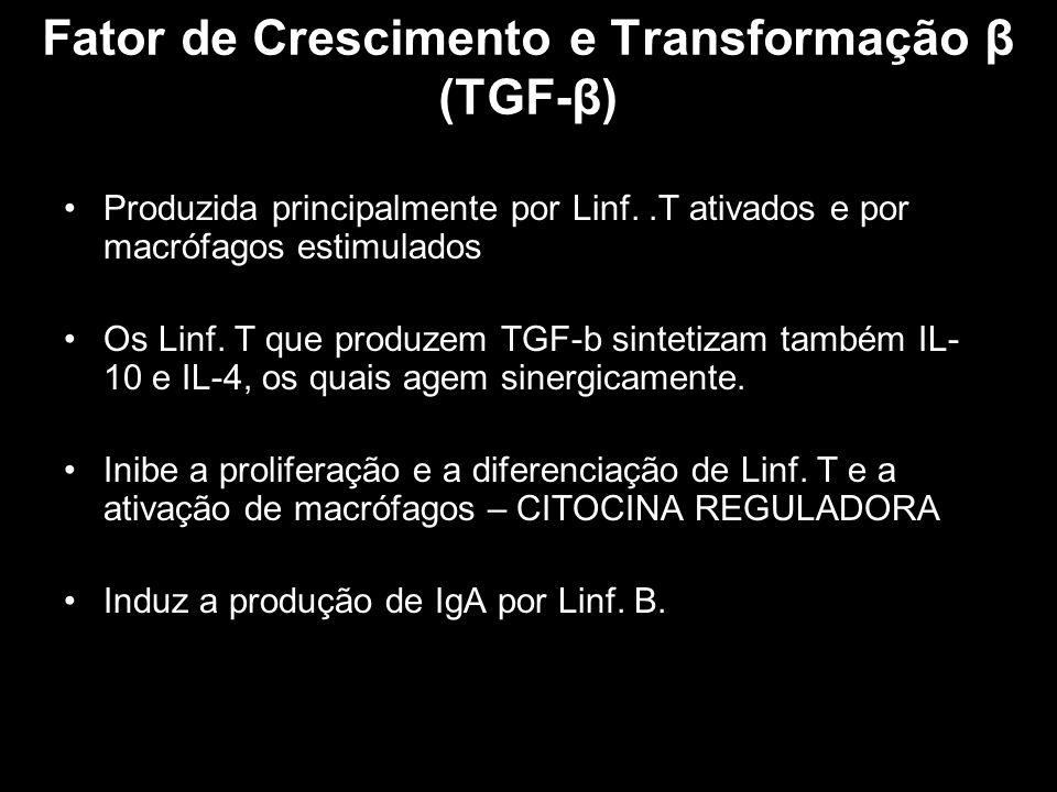 Fator de Crescimento e Transformação β (TGF-β) Produzida principalmente por Linf..T ativados e por macrófagos estimulados Os Linf. T que produzem TGF-