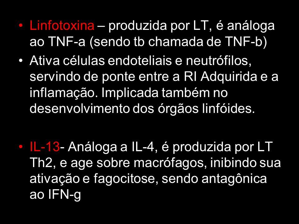 Linfotoxina – produzida por LT, é análoga ao TNF-a (sendo tb chamada de TNF-b) Ativa células endoteliais e neutrófilos, servindo de ponte entre a RI A