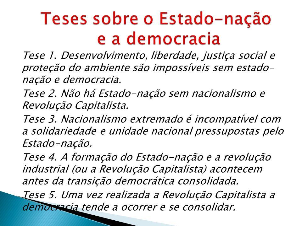 Tese 1. Desenvolvimento, liberdade, justiça social e proteção do ambiente são impossíveis sem estado- nação e democracia. Tese 2. Não há Estado-nação
