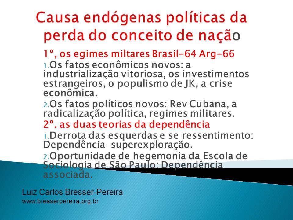 Luiz Carlos Bresser-Pereira www.bresserpereira.org.br 1º, os egimes miltares Brasil-64 Arg-66 1. Os fatos econômicos novos: a industrialização vitorio