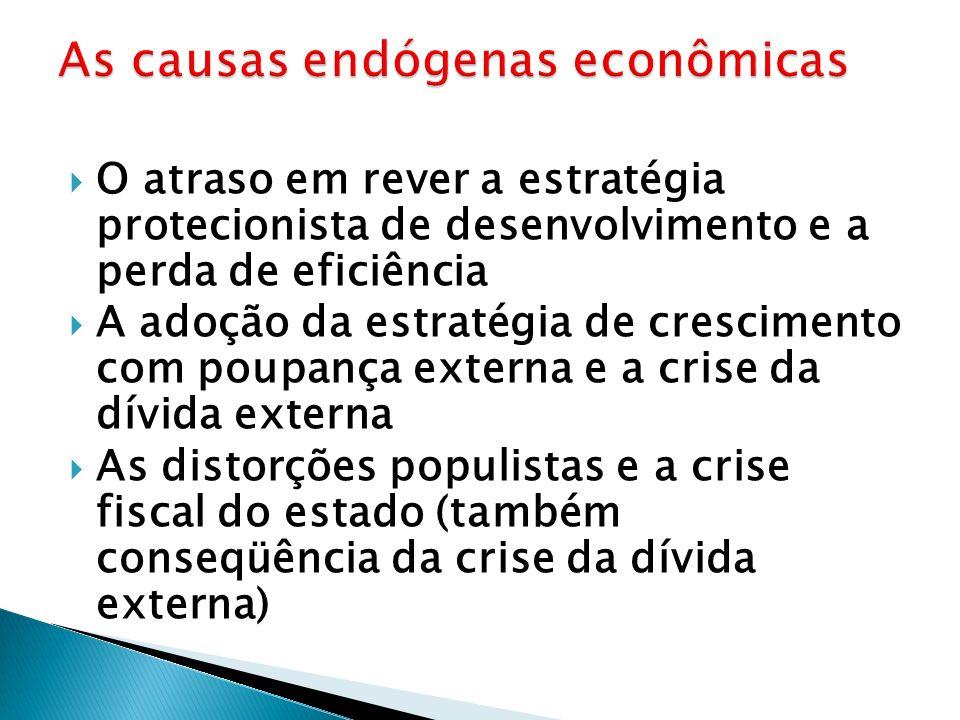 O atraso em rever a estratégia protecionista de desenvolvimento e a perda de eficiência A adoção da estratégia de crescimento com poupança externa e a