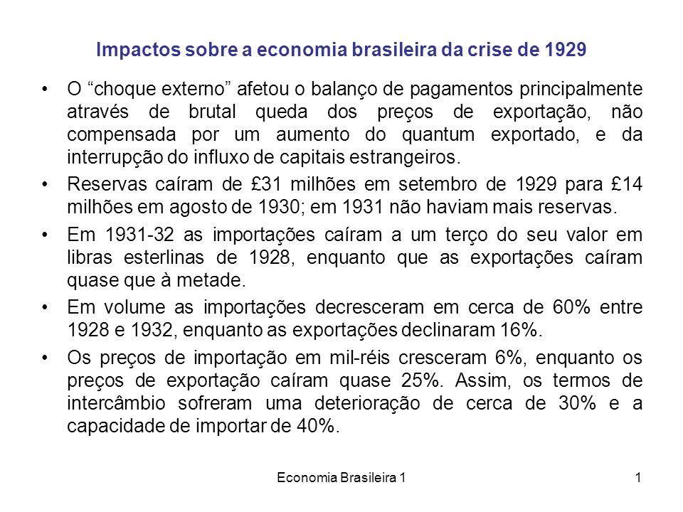Economia Brasileira 11 Impactos sobre a economia brasileira da crise de 1929 O choque externo afetou o balanço de pagamentos principalmente através de