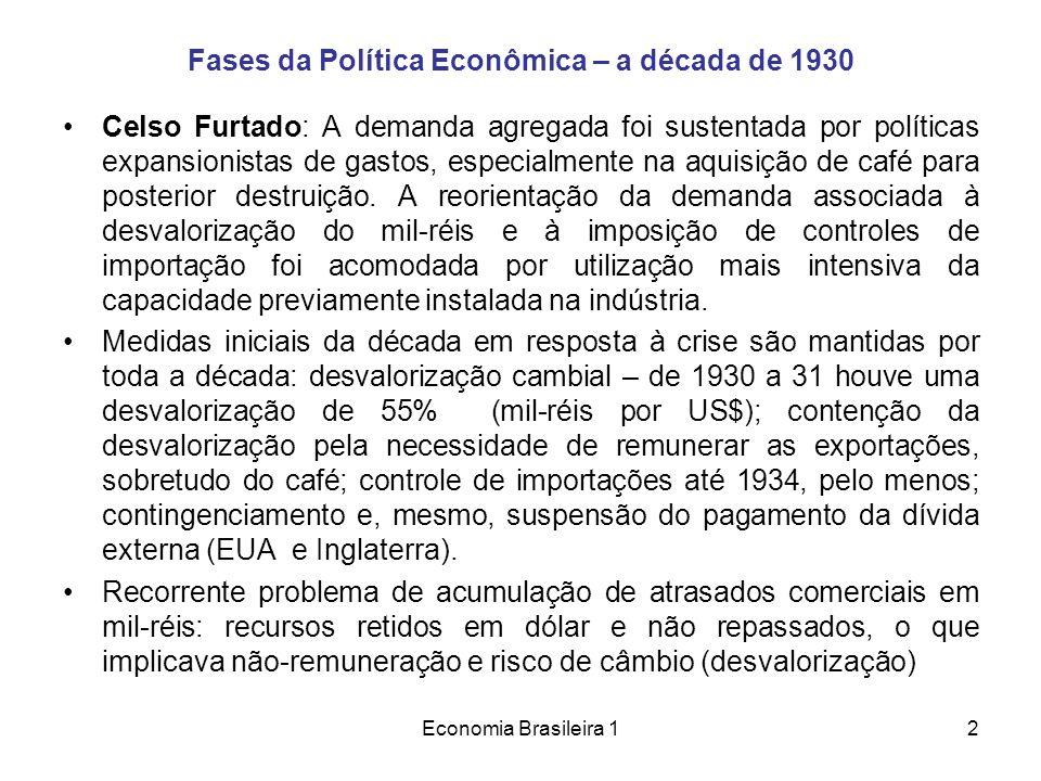 Economia Brasileira 12 Fases da Política Econômica – a década de 1930 Celso Furtado: A demanda agregada foi sustentada por políticas expansionistas de