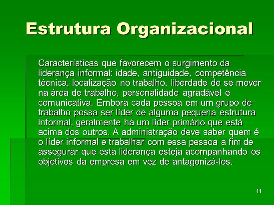 11 Estrutura Organizacional Características que favorecem o surgimento da liderança informal: idade, antiguidade, competência técnica, localização no