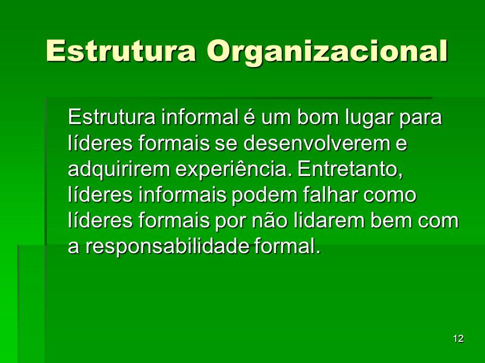 12 Estrutura Organizacional Estrutura informal é um bom lugar para líderes formais se desenvolverem e adquirirem experiência. Entretanto, líderes info