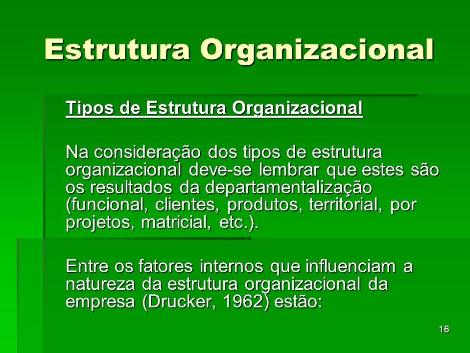 16 Estrutura Organizacional Tipos de Estrutura Organizacional Na consideração dos tipos de estrutura organizacional deve-se lembrar que estes são os r